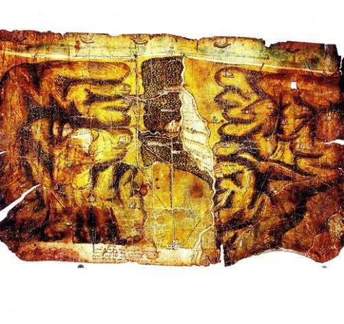 """Mappa in pergamena sec. XV """"Jesi-Chiaravalle-Rocca Priora"""" – Jesi (AN)"""