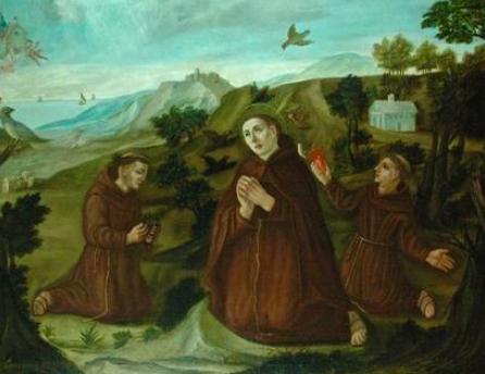 Dipinto ad olio su tela raffigurante paesaggio con S. Francesco, S. Liberato e S. Pacifico in preghiera  | Loro Piceno (MC)