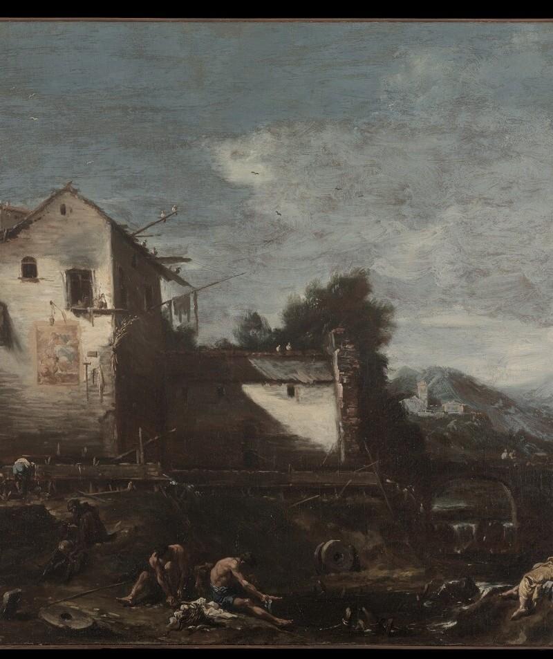 """Dipinto """"Il Vecchio Mulino""""  di Alessandro Magnasco del Comune di Abano Terme (PD)"""